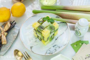 茭白筍創意料理-茭白筍水果方塊-台灣香草籽優格醬
